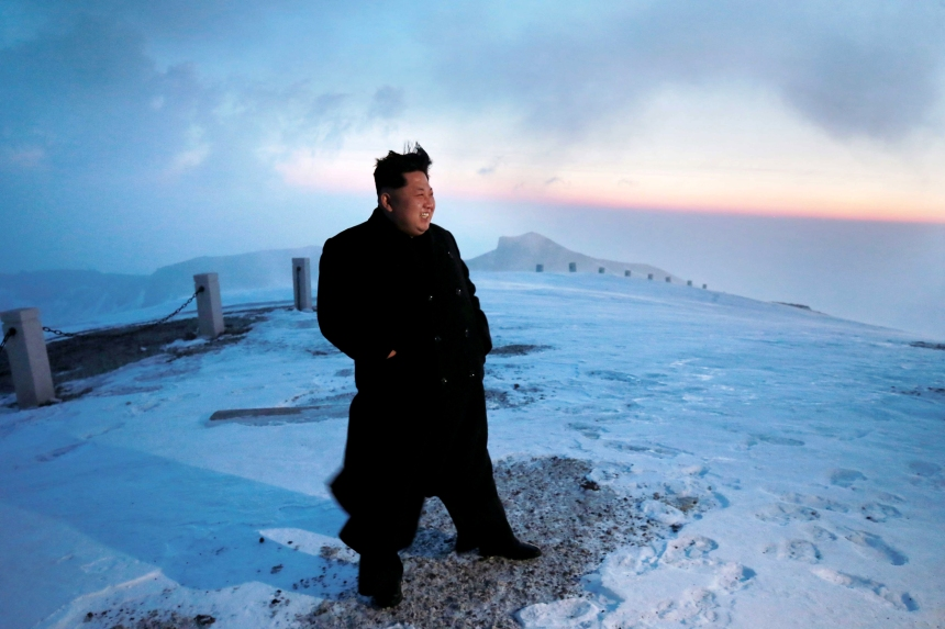 North Korean leader Kim Jong Un views the dawn from the summit of Mt Paektu April 18, 2015, in this photo released by North Korea's Korean Central News Agency (KCNA) on April 19, 2015. REUTERS/KCNA ATTENTION EDITORS - THIS PICTURE WAS PROVIDED BY A THIRD PARTY. REUTERS IS UNABLE TO INDEPENDENTLY VERIFY THE AUTHENTICITY, CONTENT, LOCATION OR DATE OF THIS IMAGE. FOR EDITORIAL USE ONLY. NOT FOR SALE FOR MARKETING OR ADVERTISING CAMPAIGNS. THIS PICTURE IS DISTRIBUTED EXACTLY AS RECEIVED BY REUTERS, AS A SERVICE TO CLIENTS. NO THIRD PARTY SALES. SOUTH KOREA OUT. NO COMMERCIAL OR EDITORIAL SALES IN SOUTH KOREA TPX IMAGES OF THE DAY